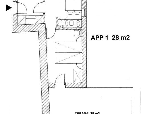 Apartma 1 Strunjan Sosič tloris